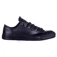 Кеды Converse All Star черные кожаные низкие