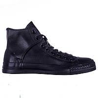 Кеды Converse All Star черные кожаные высокие липучка