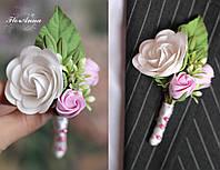 """Бутоньерка для жениха или свидетеля """"Викторианские розы"""""""""""
