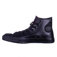 Кеды Converse All Star черные кожаные высокие
