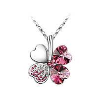 Кулон Цветок Клевер розовый цвет
