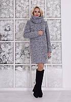 Теплое женское серое зимнее пальто с хомутом р. S, M, L арт. Фортуна лайт букле хомут зима