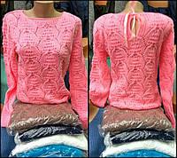 """Нарядный ажурный свитер """"Miami""""с атласной лентой на спине, размер 46-48, грудь от 88 до 98см"""