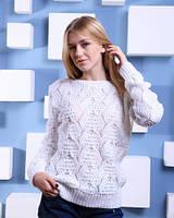 """Нарядный ажурный свитер """"Miami""""с атласной лентой на спине, размер 44-46-48, грудь от 88 до 98см"""