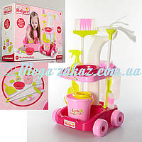 Детский набор для уборки с тележкой Little Helper. 2 цвета: щетки + ведро +совок