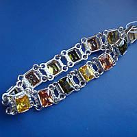 Шикарнейший серебряный женский браслет с разноцветными фианитами, 180мм