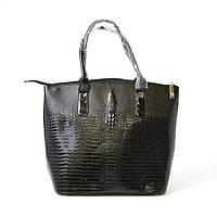 Модная оригинальная лаковая сумка с крокодилом, черная