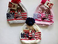Вязаная шапочка для девочки с Минни