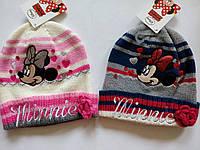 Двойная вязаная шапочка для девочки с Минни