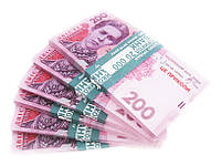 Пачка денег сувенирные деньги подарок 200 гривен
