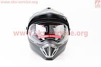 Кроссовый шлем с визором и очками черный матовый  MONSTER размер  L фирма  ATAKI