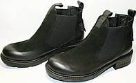 Ботинки женские осенние Rifellini Rovigo 010-627 кожа нубук, натуральный мех, черные, на резинке (челси).