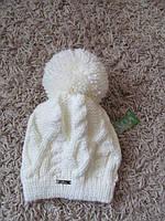 Зимняя шапка женская вязаная молоко, женские шапки