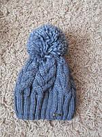 Зимняя шапка женская вязаная джинс, женские шапки