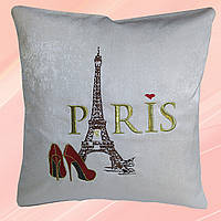 Декоративная вышитая подушка «Париж» бежевая