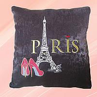 Декоративная вышитая подушка «Париж» коричневая