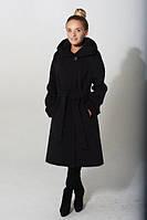 Кашемировое пальто с потайной застежкой и капюшоном
