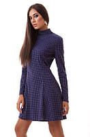 Стильное ангоровое женское платье мини в горошек с расклешенным низом и длинным рукавом
