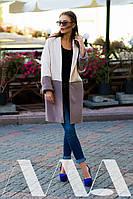Кашемировое пальто-пиджак на одной пуговице двуцветное