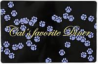 "Коврик под миску ""Cat's favourite Diner"" 44х28см, фиолетовый"