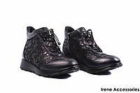 Ботинки женские кожаные Alpino (ботильоны комфорт, стильные, байка, черные, Турция)