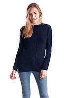 Джемпер темно-синего цвета с фигурным низом, фото 1