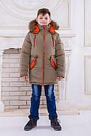 "Зимняя парка для мальчика ""Аляска"" (хаки-рыжий)"