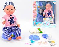 Кукла-пупс Baby Born (копия),розовая футболка,клетчатые штаны, полный кт. BL013A