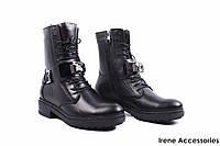 Ботинки женские кожаные Evromoda (ботильоны комфорт, стильные, байка, черные, Турция)