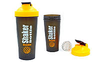 Шейкер с венчиком для спортивного питания 600мл(черный-оранжевый)