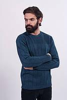 Джемпер мужской стуктурной вязки джинс - 3020