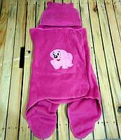 Конверт розовый для ребенка новорожденного флисовый теплый