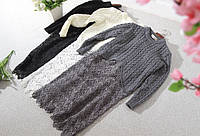 Длинные женские свитерки-туники с кружевом