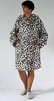 Теплый женский халат с капюшоном, принт леопард