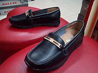 Мокасины женские allshoes на танкетке кожа  черн.