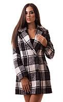 Стильное женское пальто пиджак в клетку на пуговицах с отложным воротником кашемир