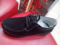 Мокасины-туфли на шнуровке женские allshoes на танкетке, замша чёрная