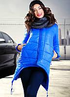 Асимметричная зимняя женская куртка свободного фасона на молнии с капюшоном плащевка на синтепоне