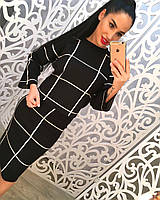 Костюм свитер+юбка за колени цвет черный и серый