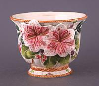 """Кашпо керамическое 10х15 см. """"Розовые цветы"""" разные цвета, круглый"""