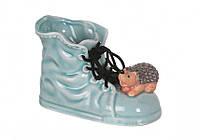 """Кашпо керамическое 14х10 см. """"Ботинок c ежиком"""" голубой, фигурное"""