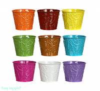"""Кашпо керамическое 14х11 см. """"Flora"""" разные цвета, круглый"""