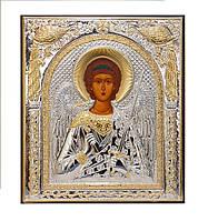 Ангел - Хранитель икона 10,8 мм х 12,1 мм серебряная с позолотой