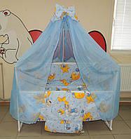 Полный набор для сна, Кроватка+матрас+постельное (25 предметов). Кроватка Лак, колесики, качалка