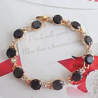 Браслет с черными камнями  золото  18КGP черный цирконий