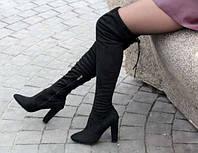 Сапоги женские ботфорты  черные, осенняя обувь