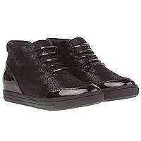 Ботинки женские Sergio Leone (на низком ходу, стильные, удобные, черные)