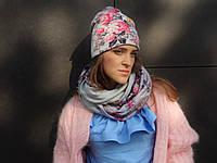 Снуд шарф серый с розовыми цветами