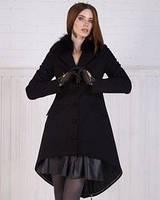 Кашемировое пальто с меховой отделкой на воротнике, удлиненное сзади
