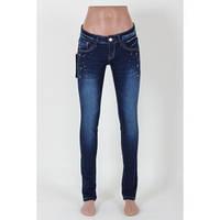 Женские джинсы узкие с потертостью
